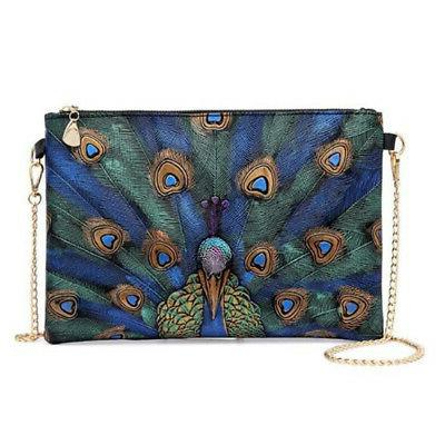 chic women peacock pattern pu leather shoulder
