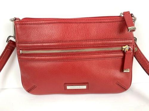 Calvin Red Leather Silver Accent Purse New