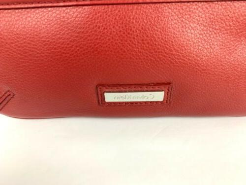 Calvin Red Leather Silver Accent Purse