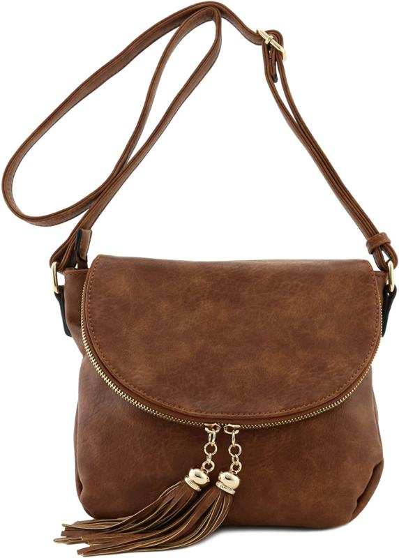 CROSSBODY BAG with Flap Top Tassel Accent Zipper Closure Fla