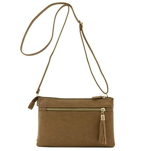 double compartment wristlet crossbody bag with tassel