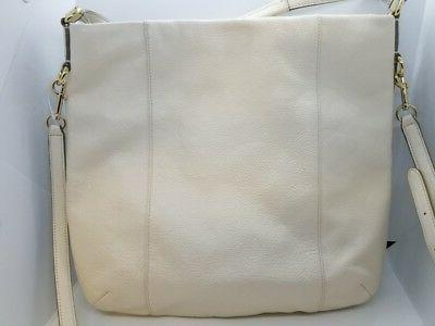 Coach F34511 Isabelle Leather Hobo Bag Chalk White