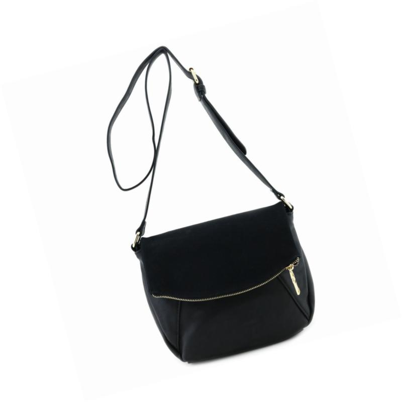 faux calfskin leather crossbody bag with suede