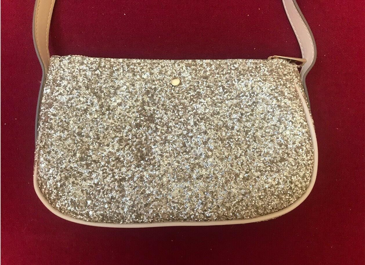 A Gold Glitter Bag Faux Leather, Fashion,