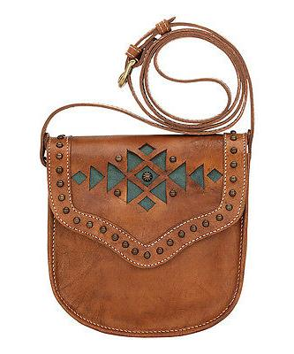 American West Golden Tan & Turquoise Geometric Leather Cross