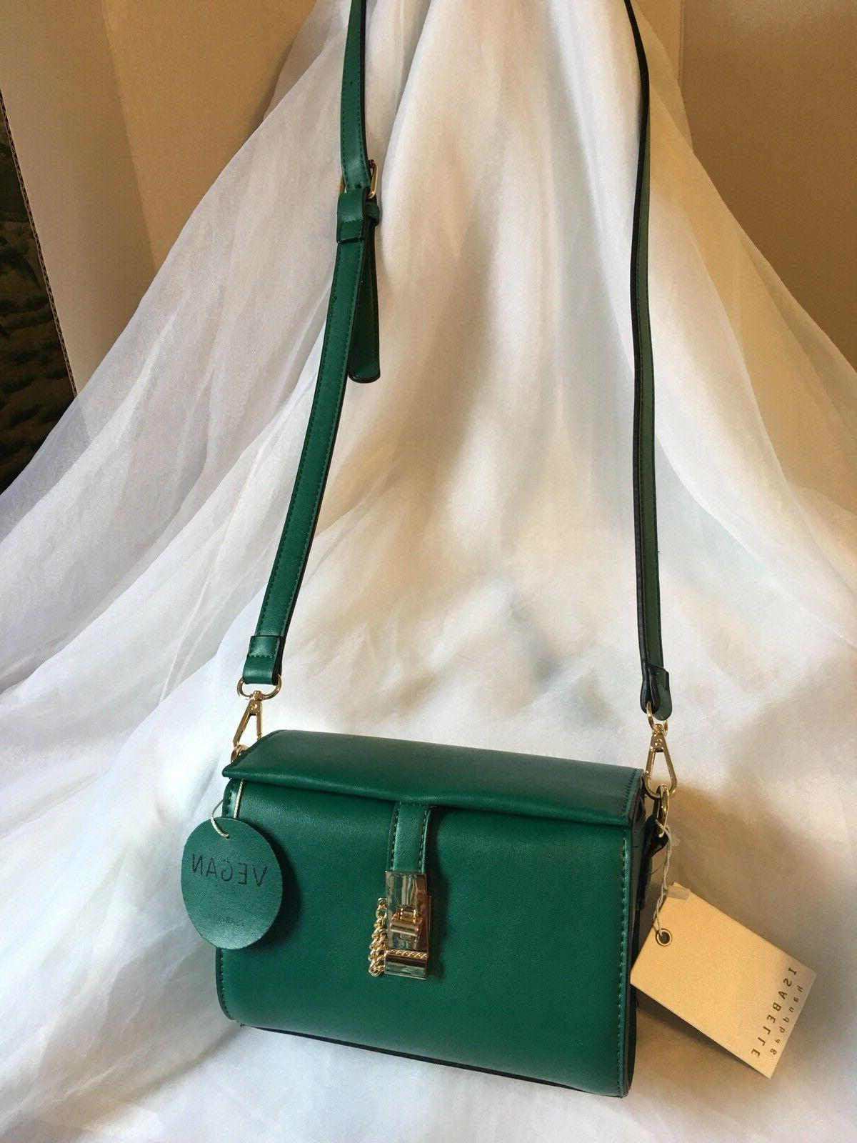 Isabelle Handbag Vegan Green Leather Crossbody Purse Bag With Label