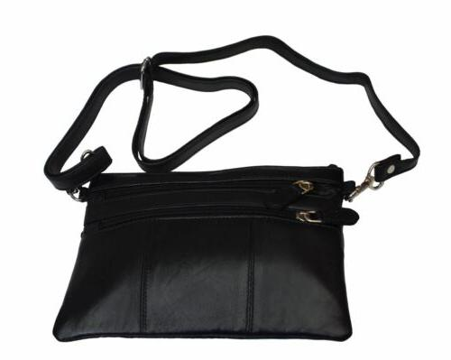 Ladies Leather Small Bag 4 Zipper Pockets