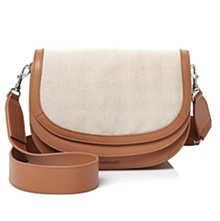 STEVEN ALAN Landon Saddle Bag LINEN LEATHER Purse Tan Crossb