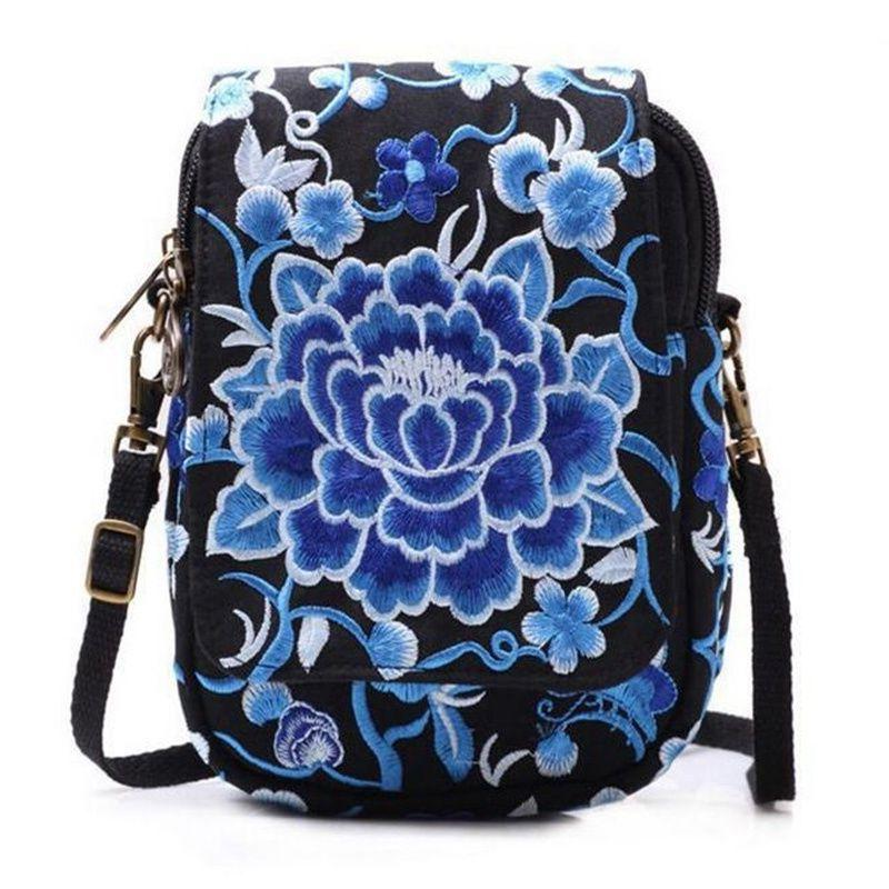 Latest Lady Bag Embroider Purse Messenger Crossbody Bag