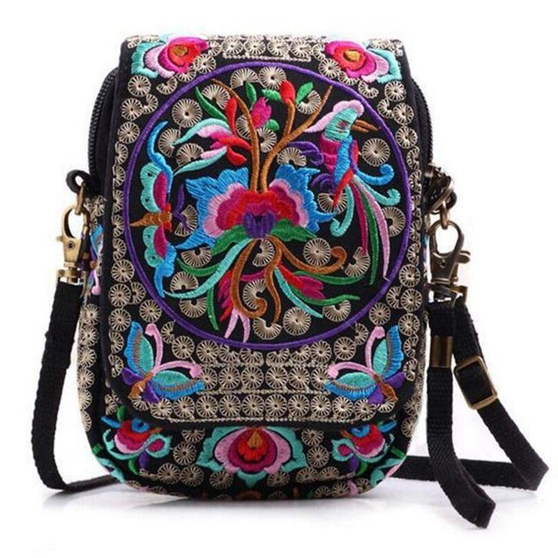 Bag Embroider Purse Messenger Crossbody Bag