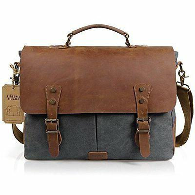 Leather Canvas Messenger Bag Carry Handle