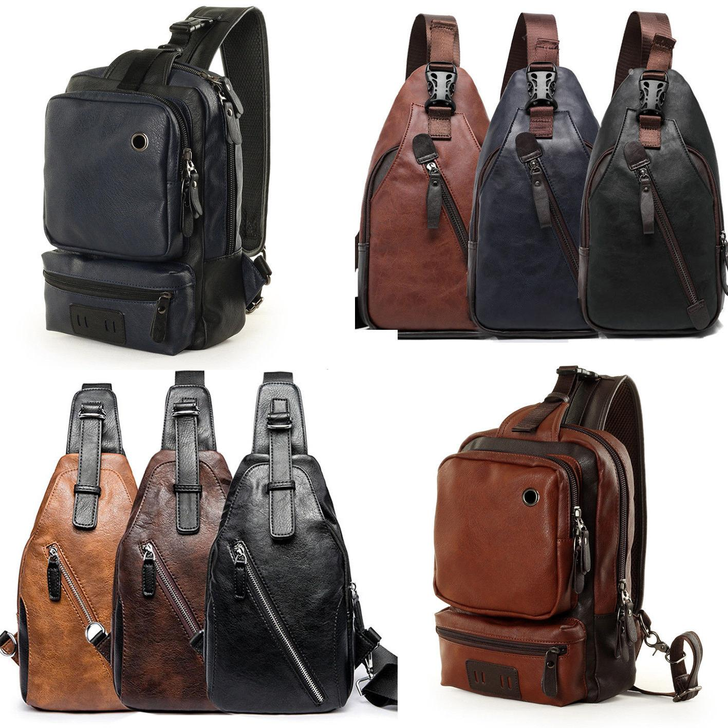 Men's Leather Chest Sling Packs Shoulder Cross Body Bag Cycl