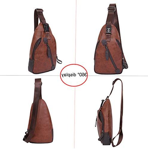 Mens Sling Backpack Cross Body Leather Shoulder Daypack