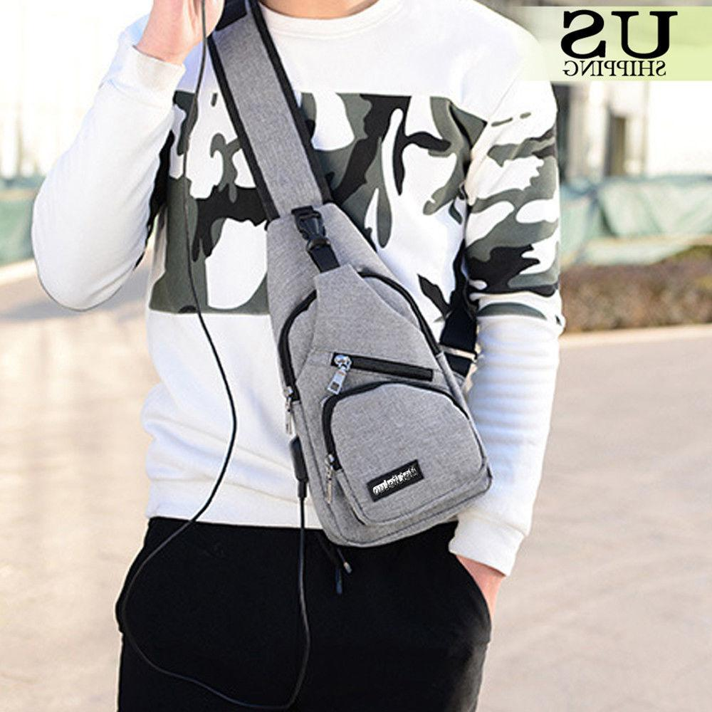 Mens Chest Pack Crossbody Bag + Cable
