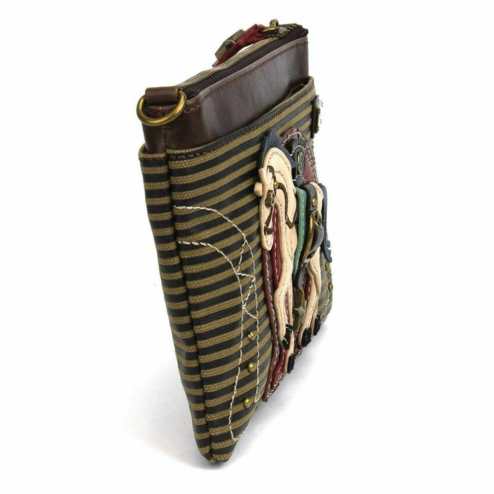 NEW OLIVE STRIPE HORSE CROSSBODY CELL PHONE