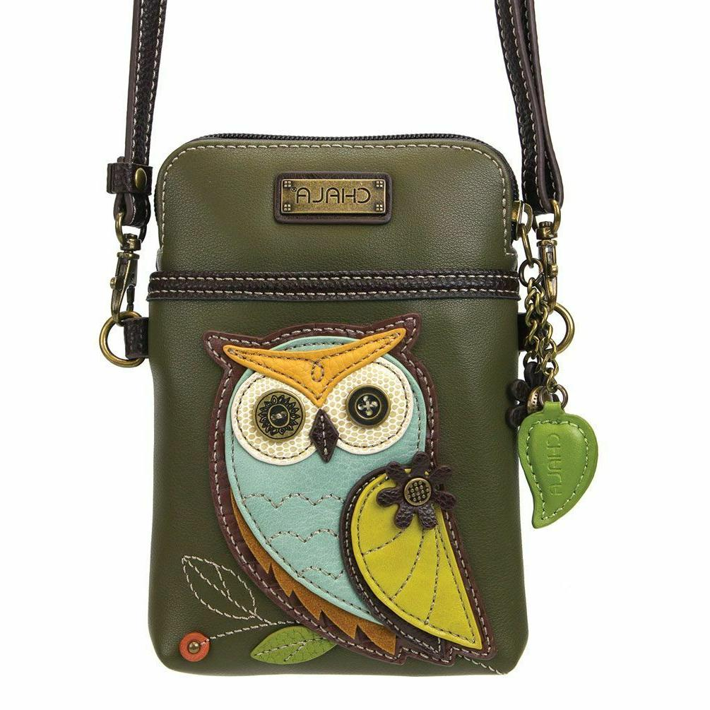 new olive green owl bird cell phone