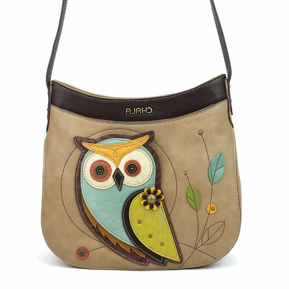 NEW CHALA TAUPE CREAM OWL CRESCENT CROSSBODY TOTE BAG PURSE