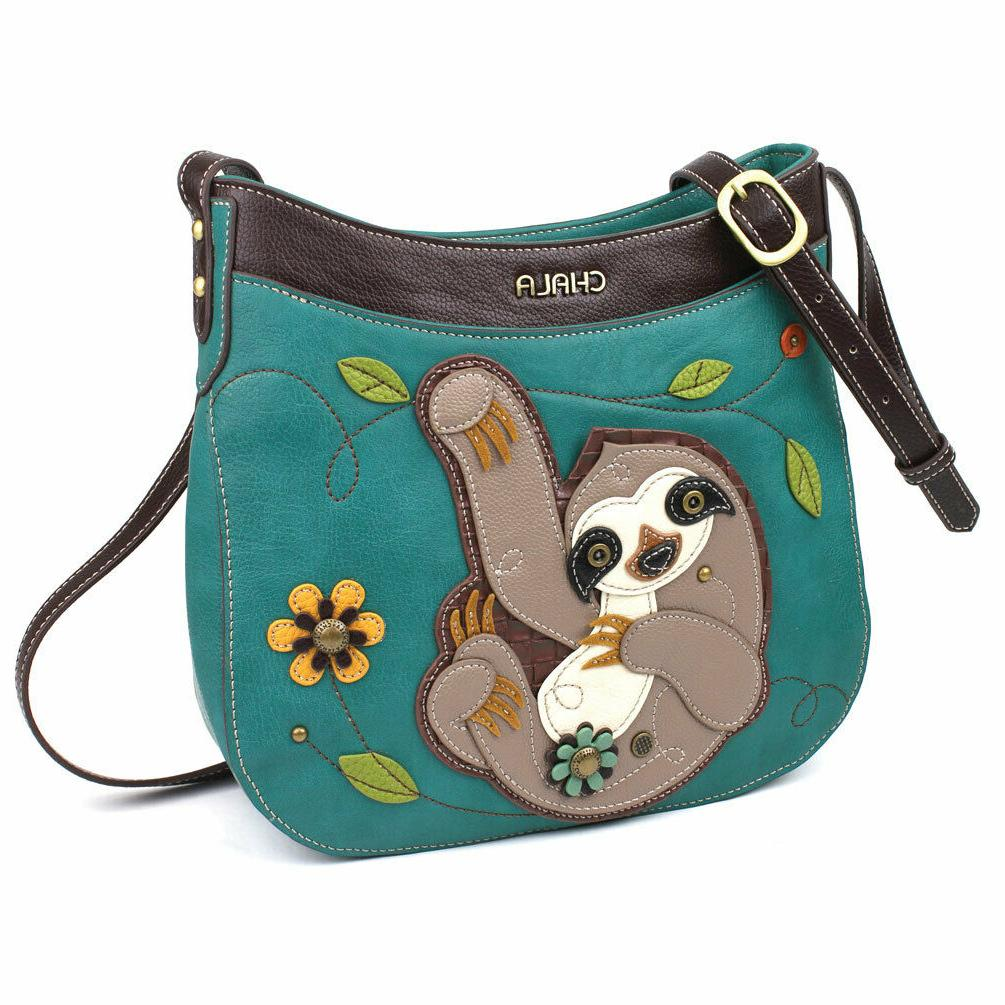 new turquoise blue sloth crescent crossbody tote