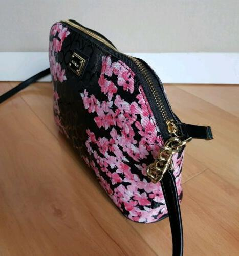NWT Calvin Black Floral Purse Bag H6GEJ5KE