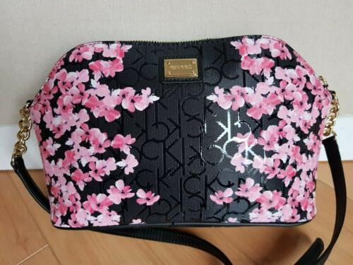 nwt authentic black pink floral crossbody purse