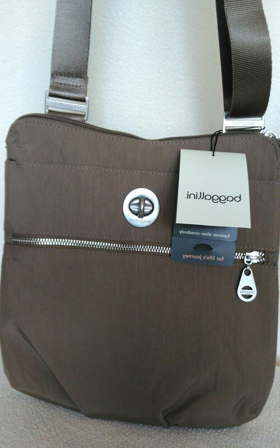 NWT Baggallini Hanover Silver Crossbody, Taupe Brown