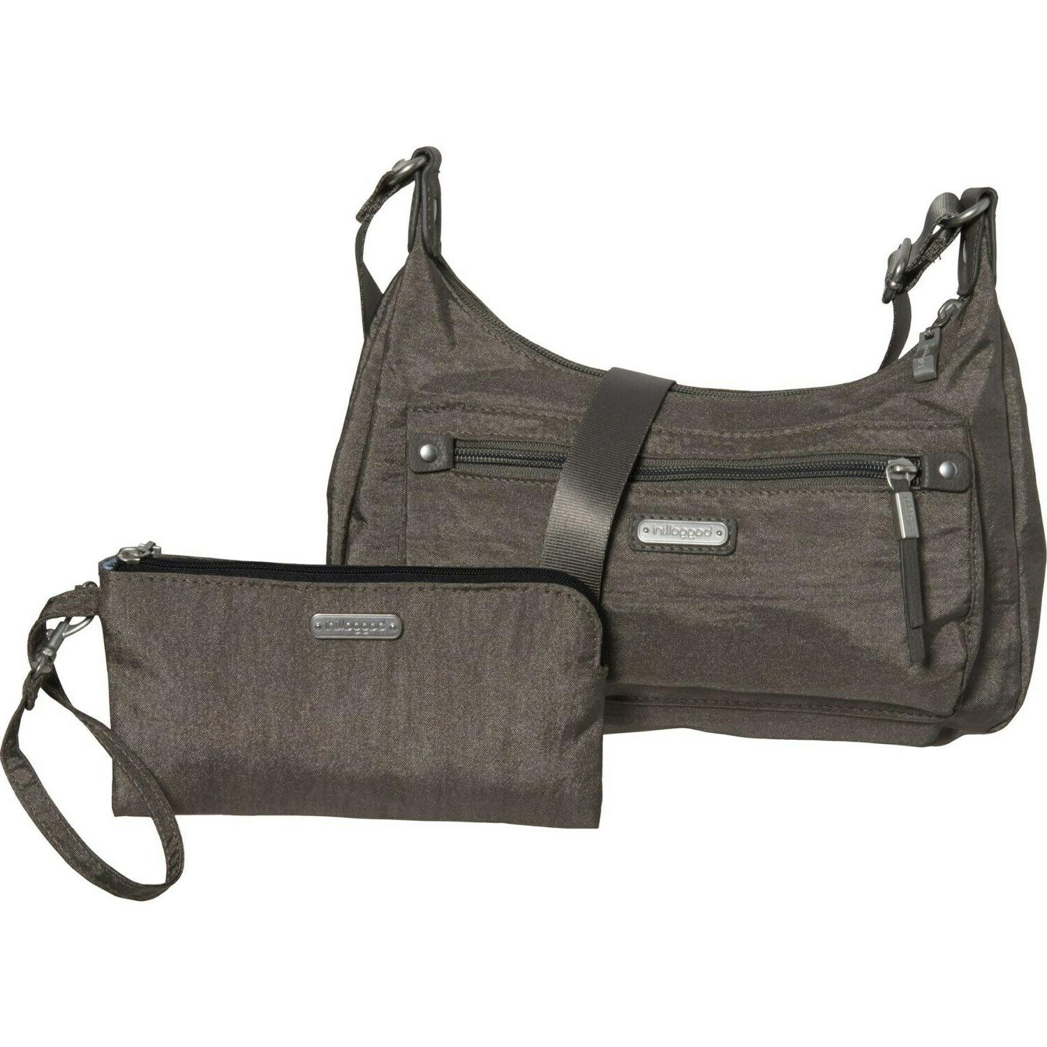 NWT baggallini Silver Out and About Crossbody Bag RFID Black