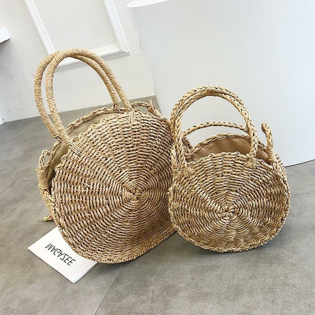 Small&Large Round Straw Beach Bag Woven Rattan Tote Shoulder