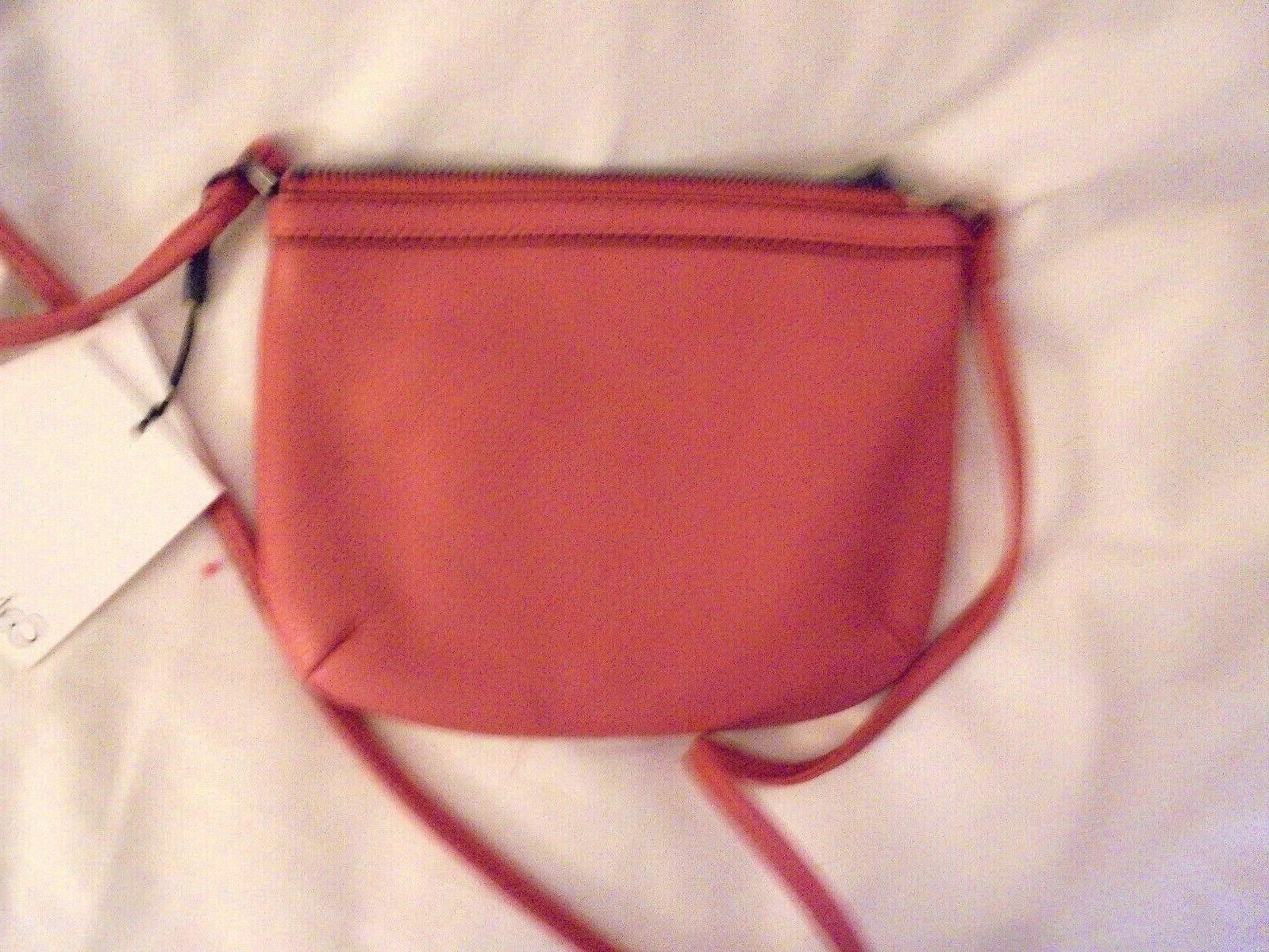 Calvin Small Pebbled Leather Crossbody Persimmom color