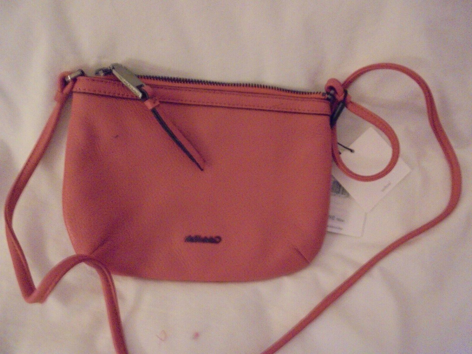 small pebbled leather crossbody bag purse persimmom