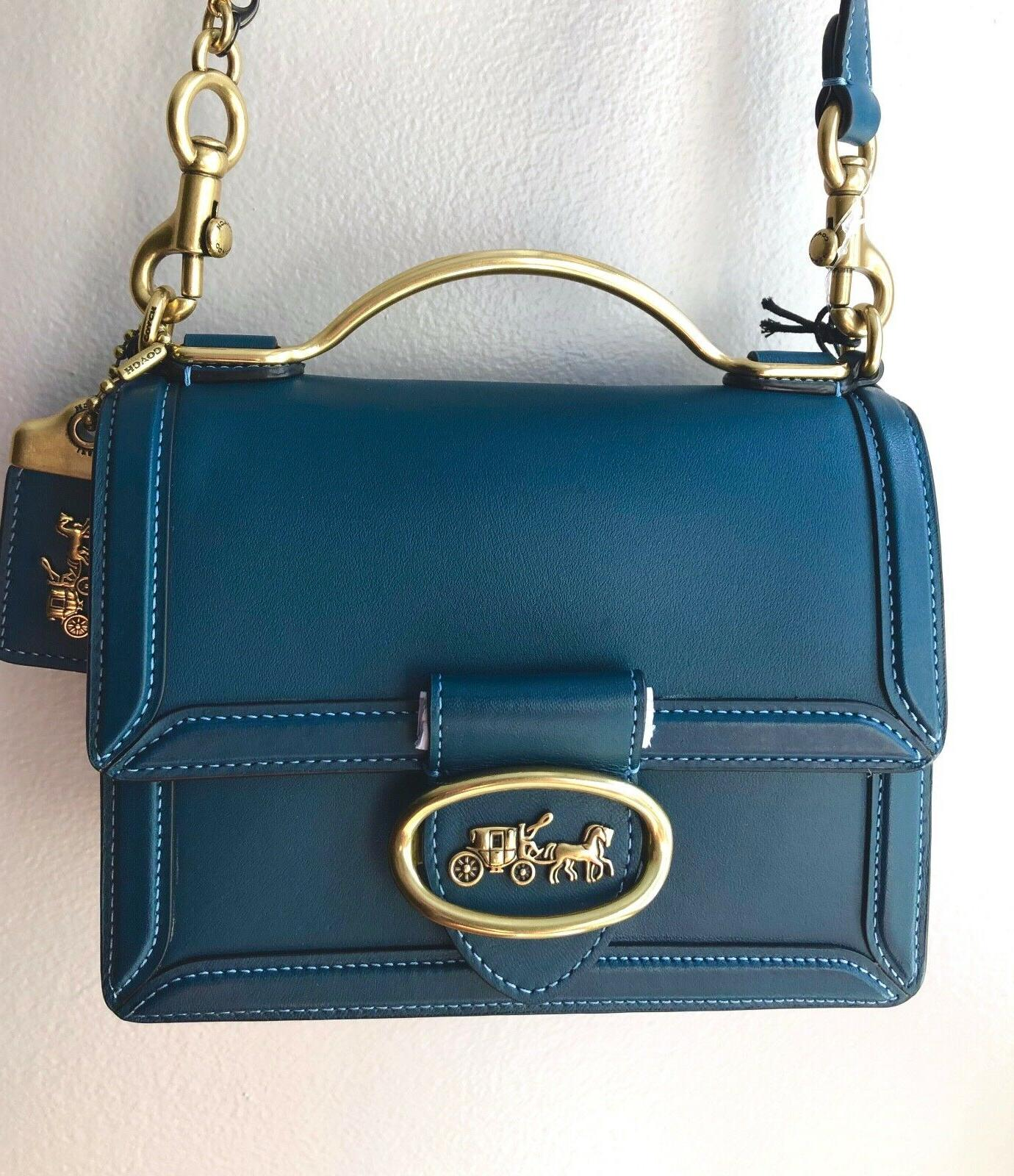 Sold Out 1941 Peacock Leather Riley 18 Top Handle Crossbody Bag