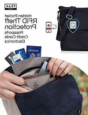 121fd6d05 Travel Crossbody Hidden RFID Pocket Includes Lost Found