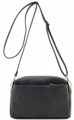 Triple Zip Small Crossbody Bag