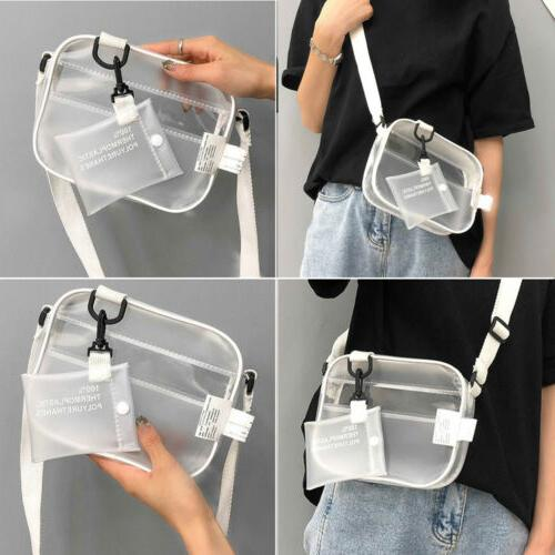 US Women Transparent Bag Clear Chain Crossbody Shoulder Bags