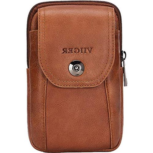 VIIGER Vertical Leather Small Travel Man Phone Bag Phone Pouch Belt Bag Men Pouch iPhone Xs Plus,brown