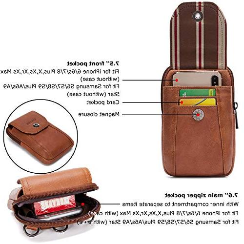 VIIGER Vertical Leather Small Travel Man Purse Phone Phone Bag Belt Men Women Pouch for Xs Plus,brown