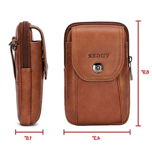 VIIGER Vertical Leather Travel Phone Phone Pouch Waist Bag Belt for Men Women Shoulder Pouch Compatible for iPhone Xs