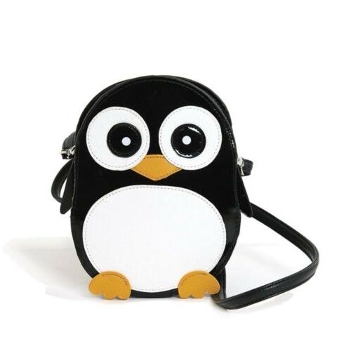 Wide-Eyed Penguin Pal Cross Body Shoulder Bag Handbag Purse