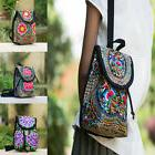 Women's Canvas Floral Embroidered Backpack Ethnic Travel Cro