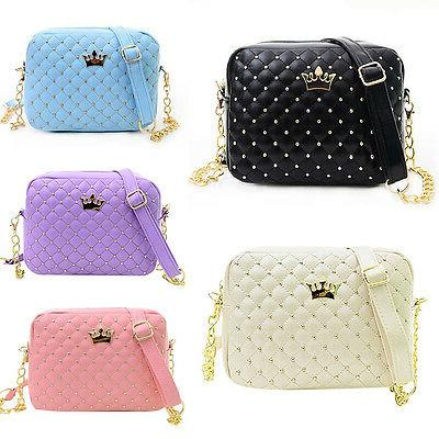 women s ladies crown quilted chain bag