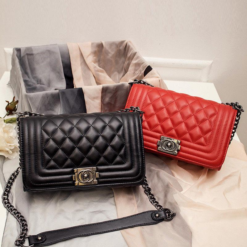 women s quilted chain black bag leather
