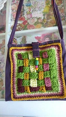 womens bag handmade fabric acrylic crocheted tote