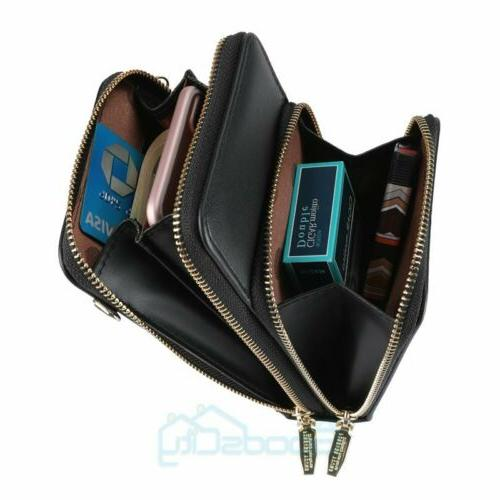 Womens Leather Crossbody Cell Phone Travel