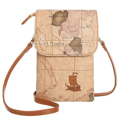 world map series synthetic leather small crossbody