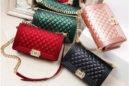 quilted sling crossbody chain shoulder bag   PVC Jelly purse