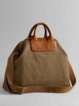 Lands End  Canvas/ Leather Tote Bag  Leather Handles Plus Cr