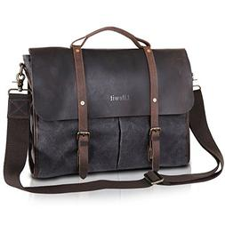 Lifewit Men's Messenger Bag Leather Waterproof Waxed Canvas