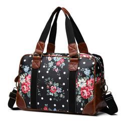 Large Laptop Bag Women Flower Print Matte Oilcloth Flower Ha