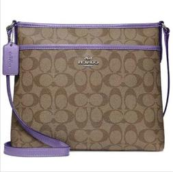 Coach Leather File Crossbody Shoulder Bag Signature PURPLE B