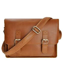 Men vintage genuine leather Messenger Laptop Bag14 inch brow