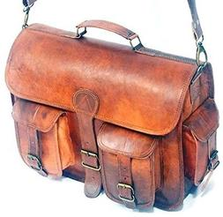 Style Leather Messenger Bag for Laptop Briefcase Crossbody M